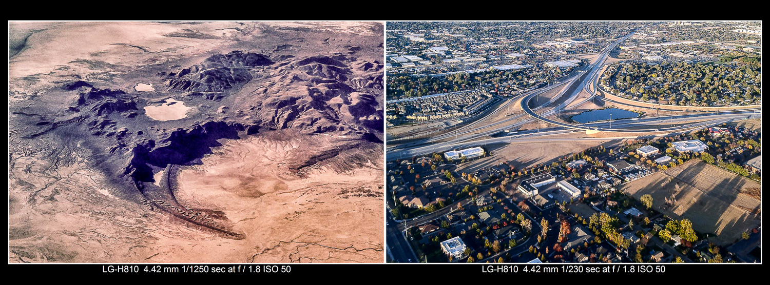 Great aerial photos can be made out the window of commercial airliners with your cellphone.
