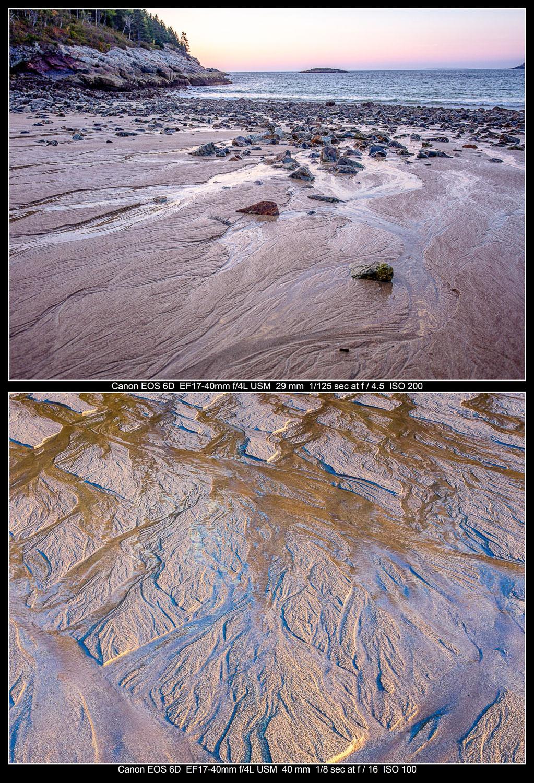 Duas fotos de areia em uma praia.