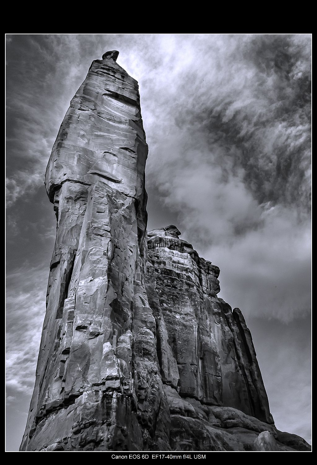 Vertical image of a rock
