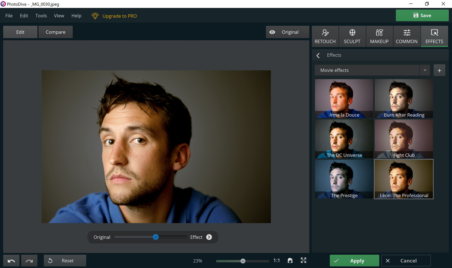 A screenshot showing a filter being applied to a photograph in post processing software
