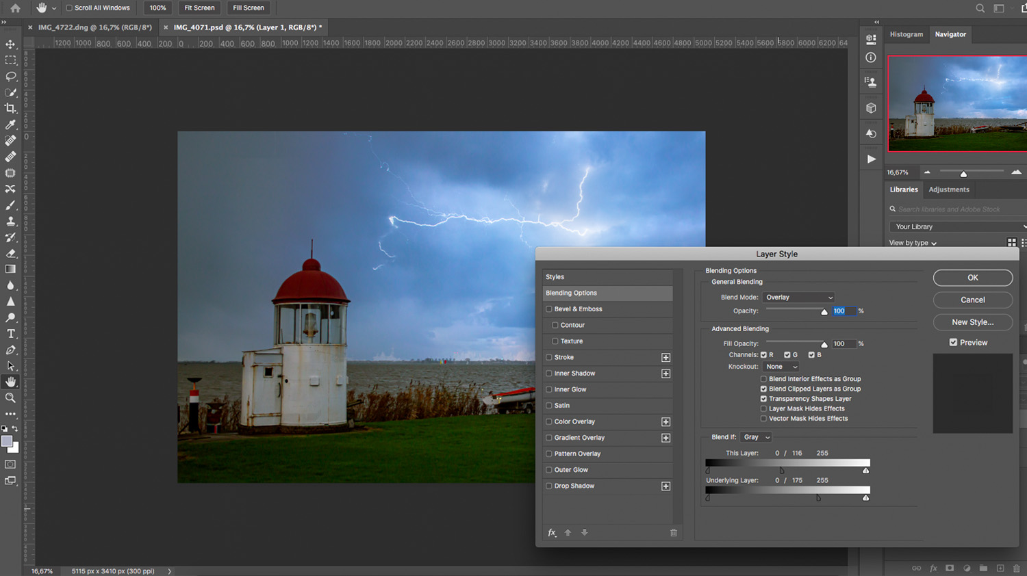 use Photoshop blending modes to add lightning