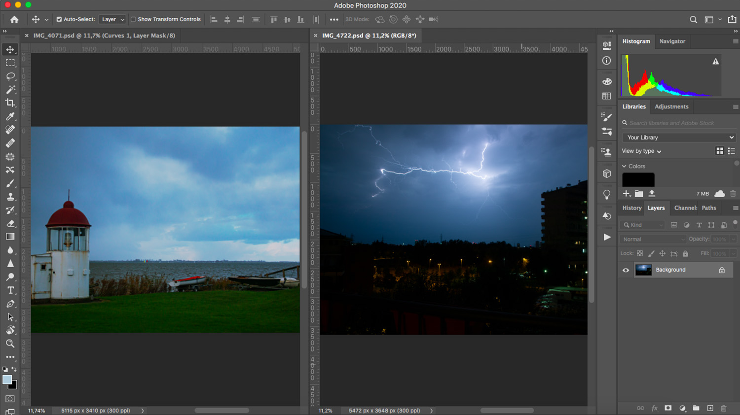 Use Photoshop to composite a thunderstorm