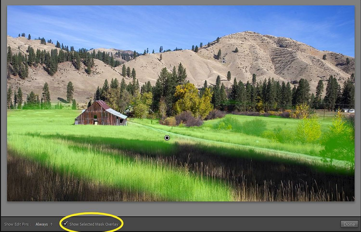 the mask overlay in Lightroom