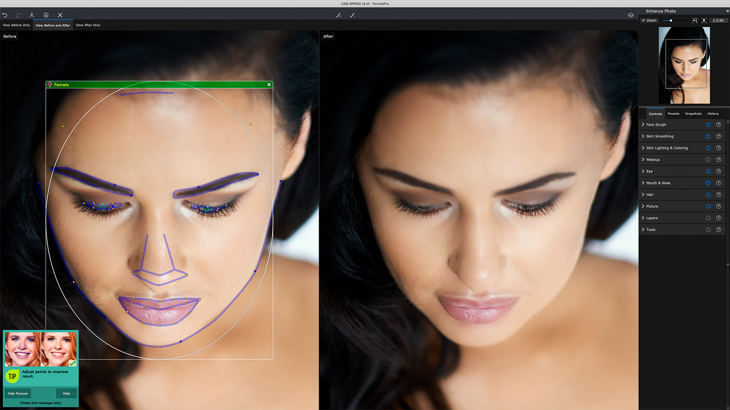 Face selection AI demo in PortraitPro 21