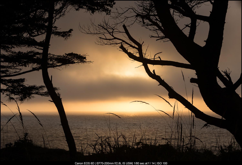 Pôr do sol do Oregon na costa