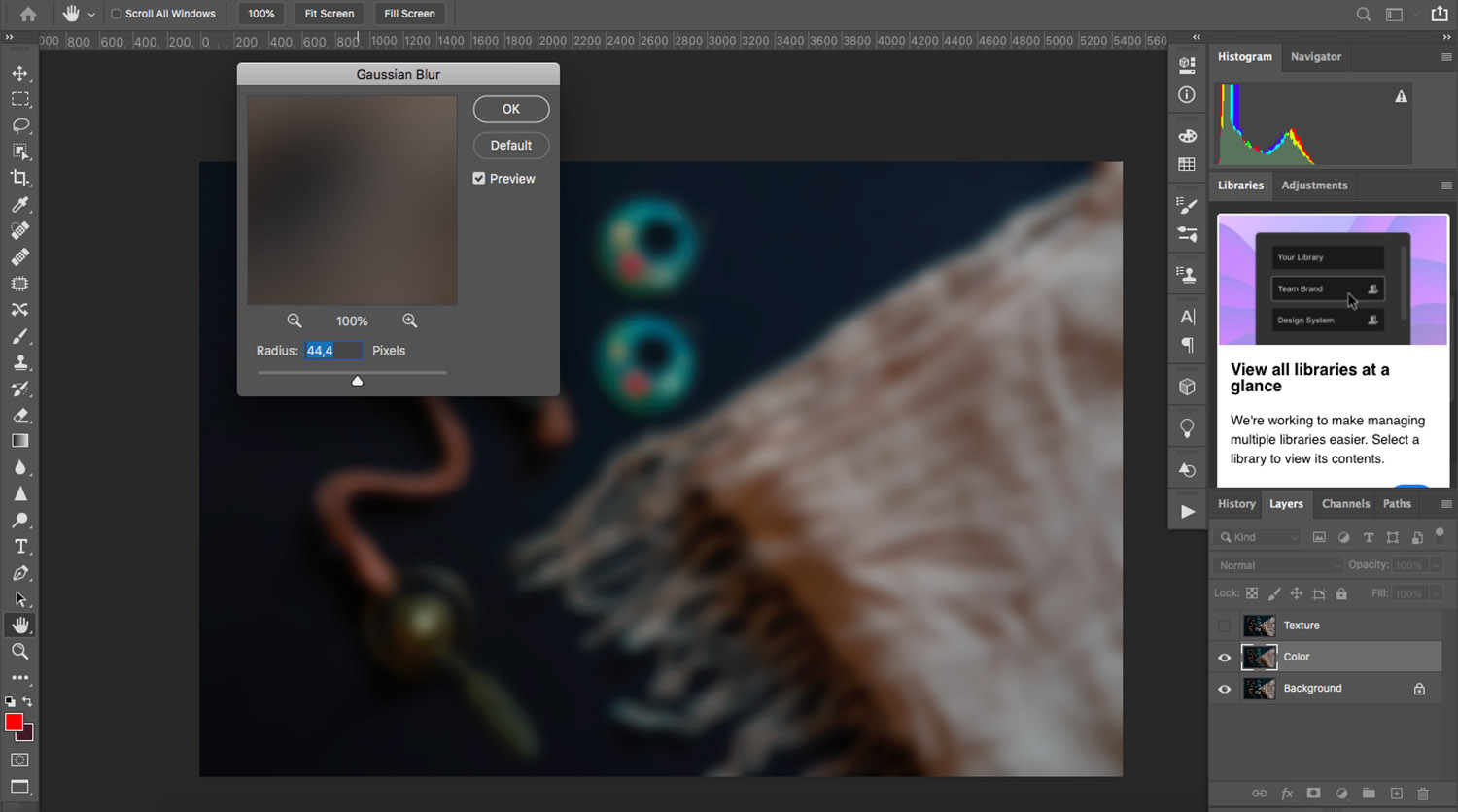 adding a Gaussian blur when removing wrinkles