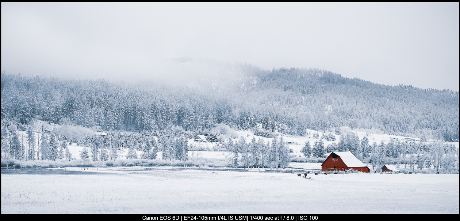 fine art landscape photography red barn and snowy mountains