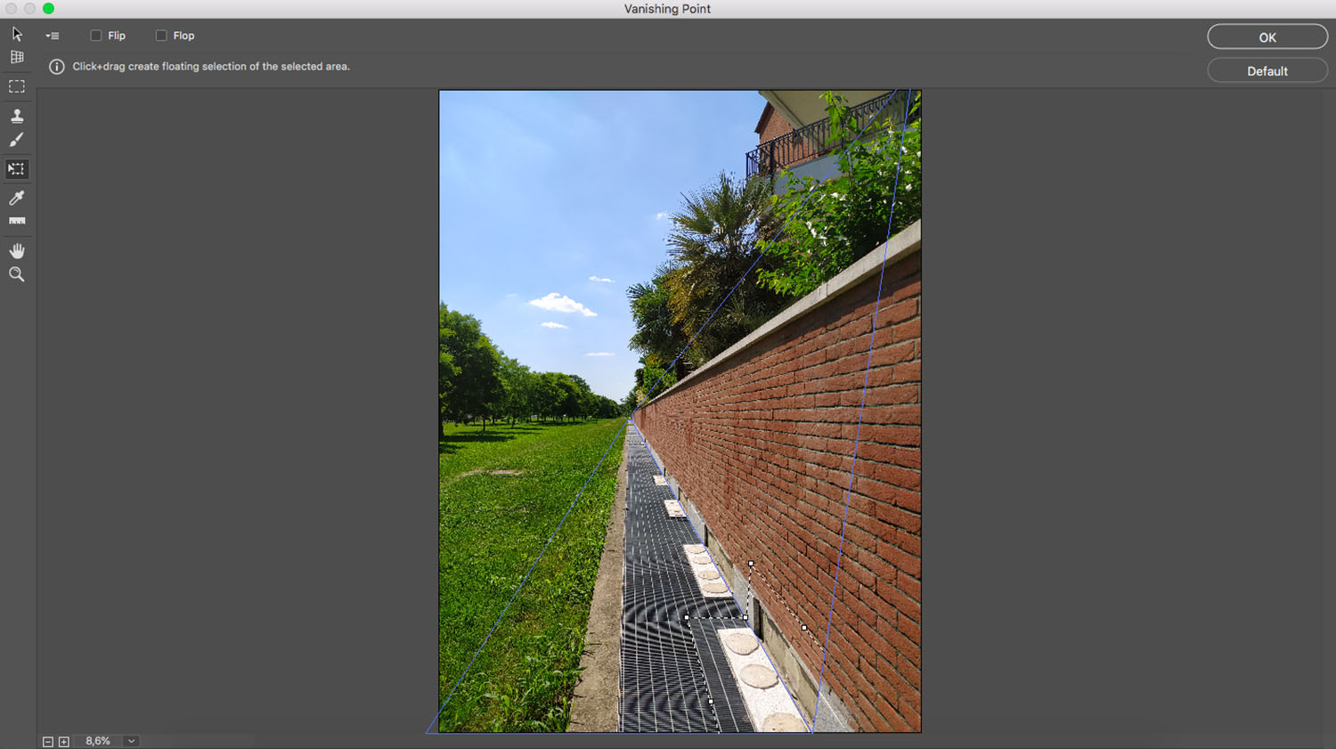 Select and Duplicate in Vanishing Point in Photoshop