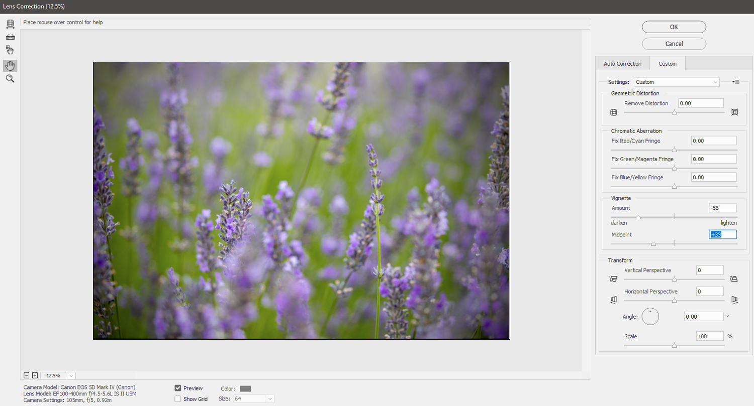 how to create a vignette in photoshop lens correction