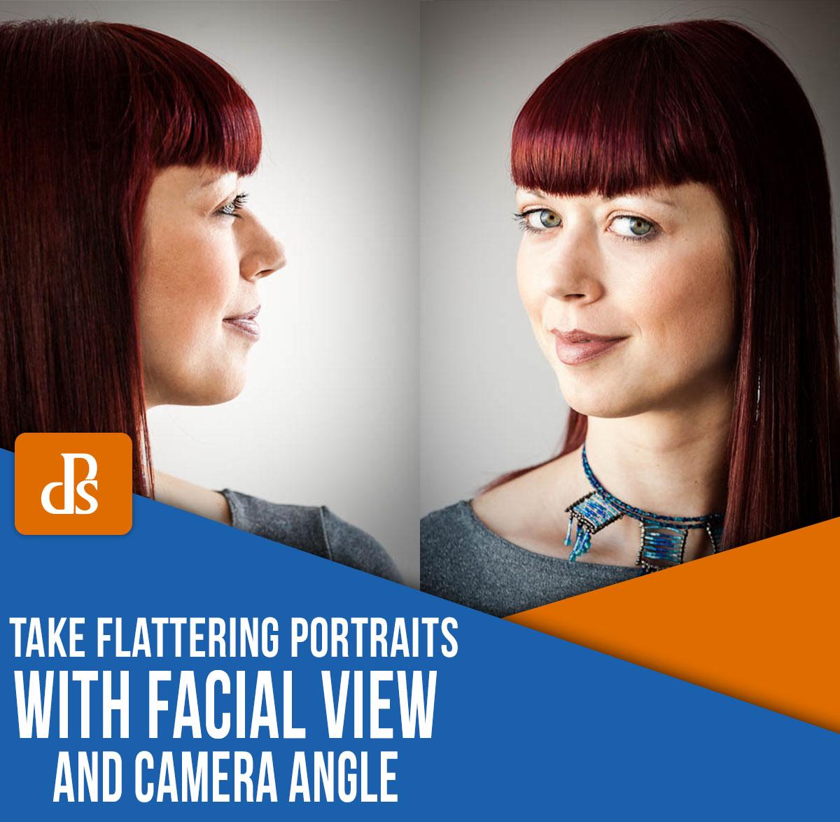use o ângulo do rosto e o ângulo da câmera para favorecer a fotografia de retrato