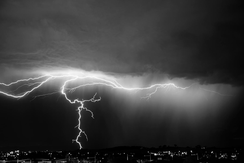 lightning striking above a city
