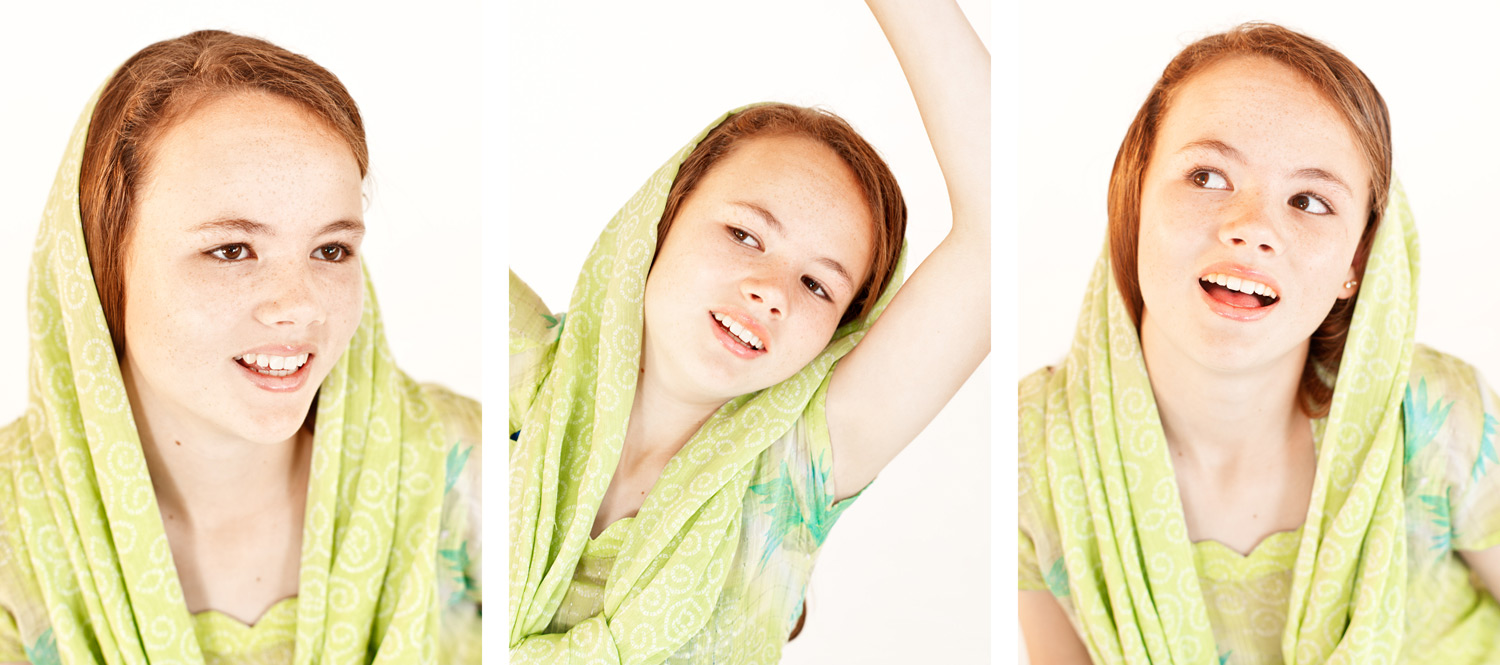 Three portraits of a girl in a green scarf