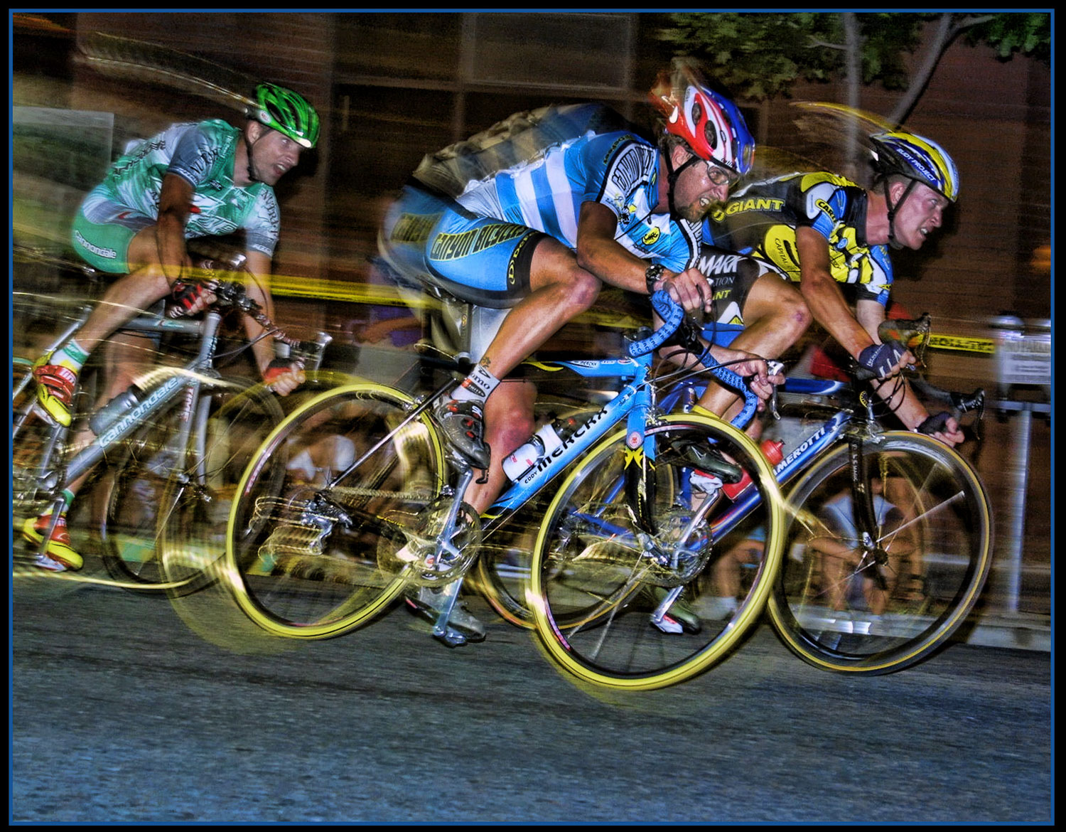 the rule of odds in photography -three bikers in a race