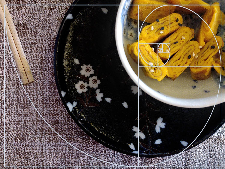golden spiral food bowl composition