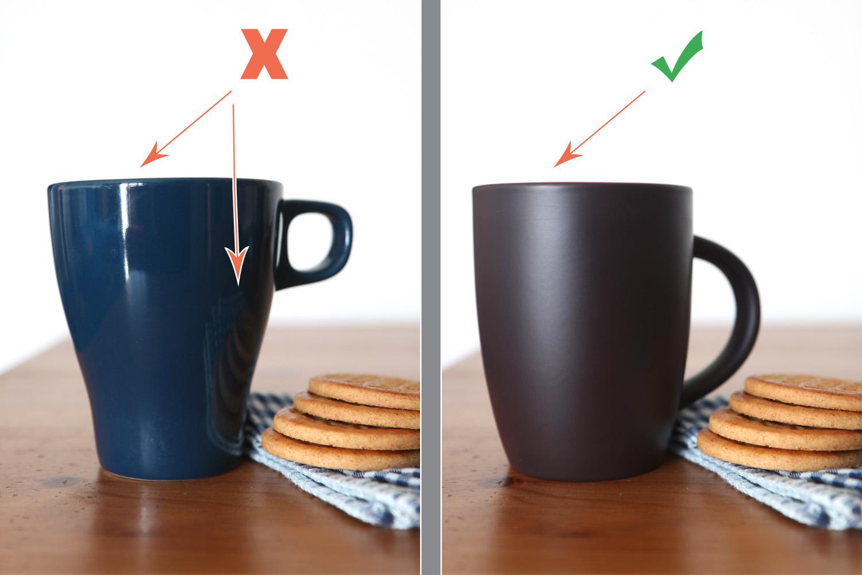 food photography ideas non-reflective mug vs reflective mug