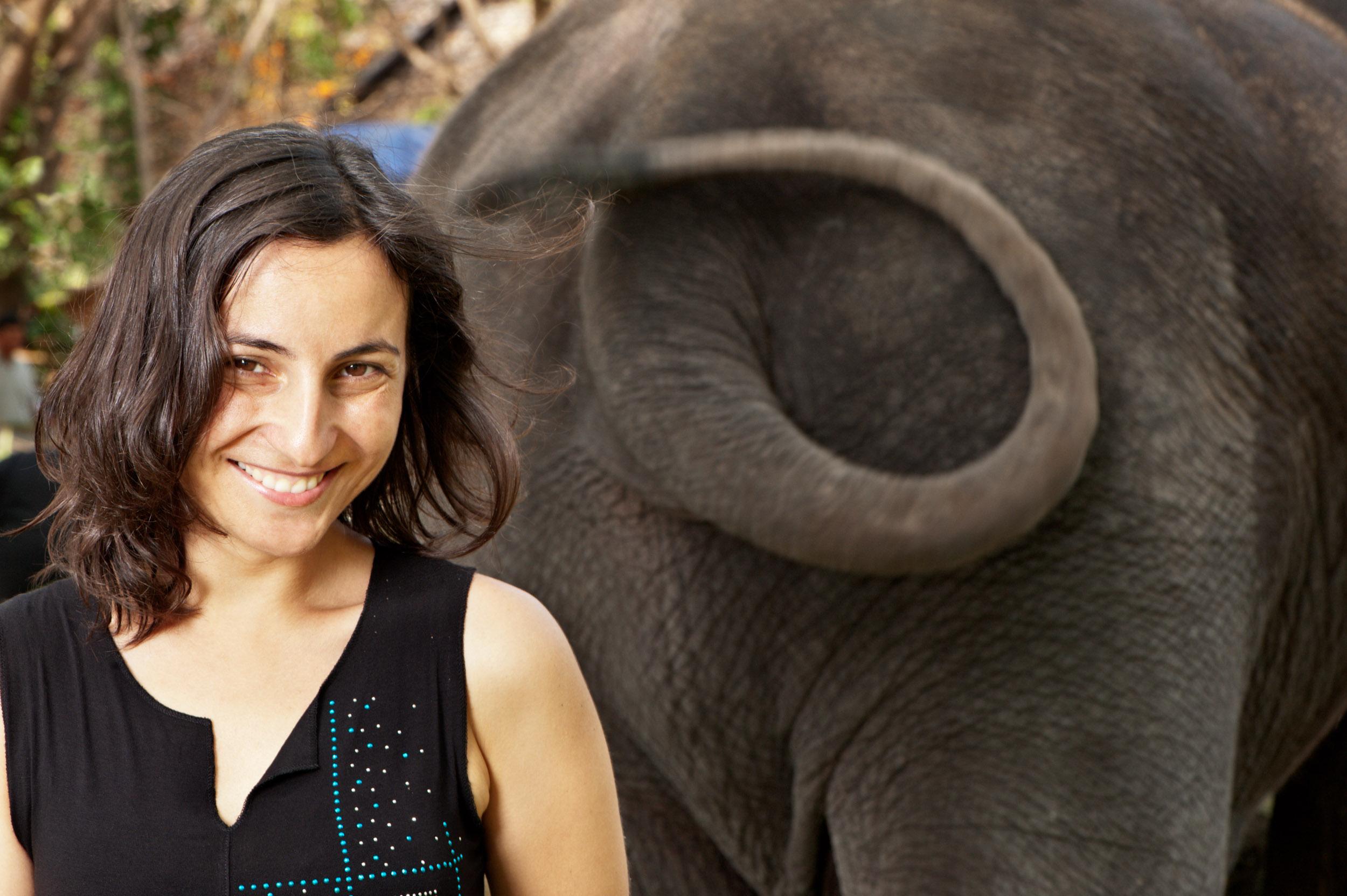 portrait photography idea a woman with an elephant