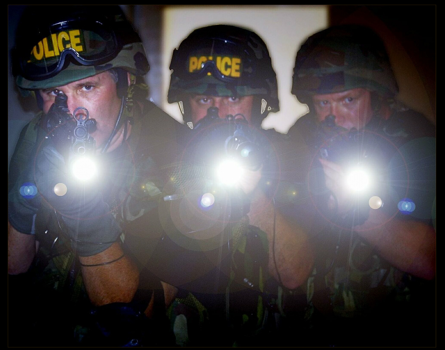 three police officers with lights and guns