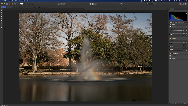 Affinity Photo editing interface