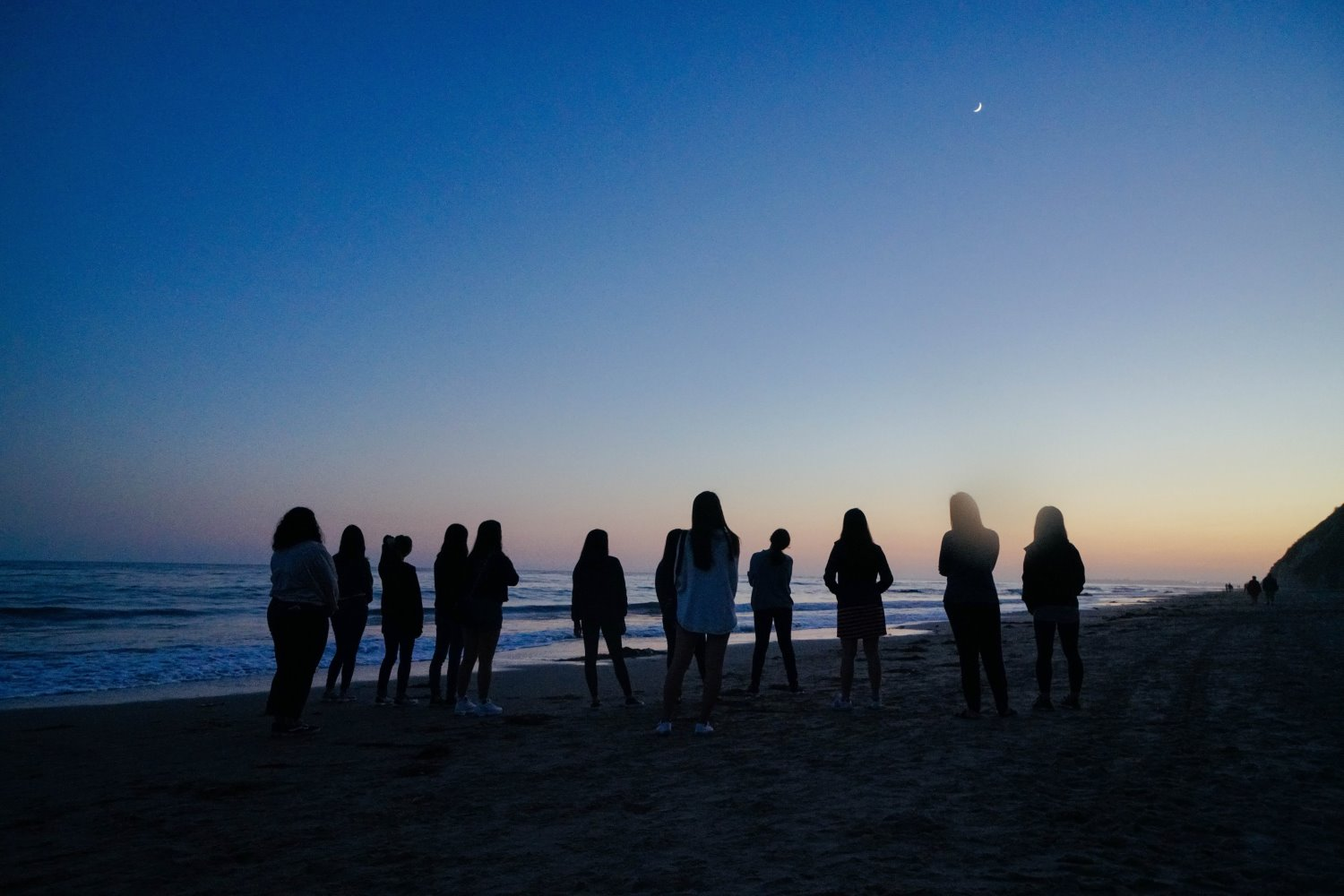 silhouette of people on a beach