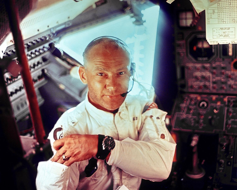 Astronaut Buzz Aldrin in space