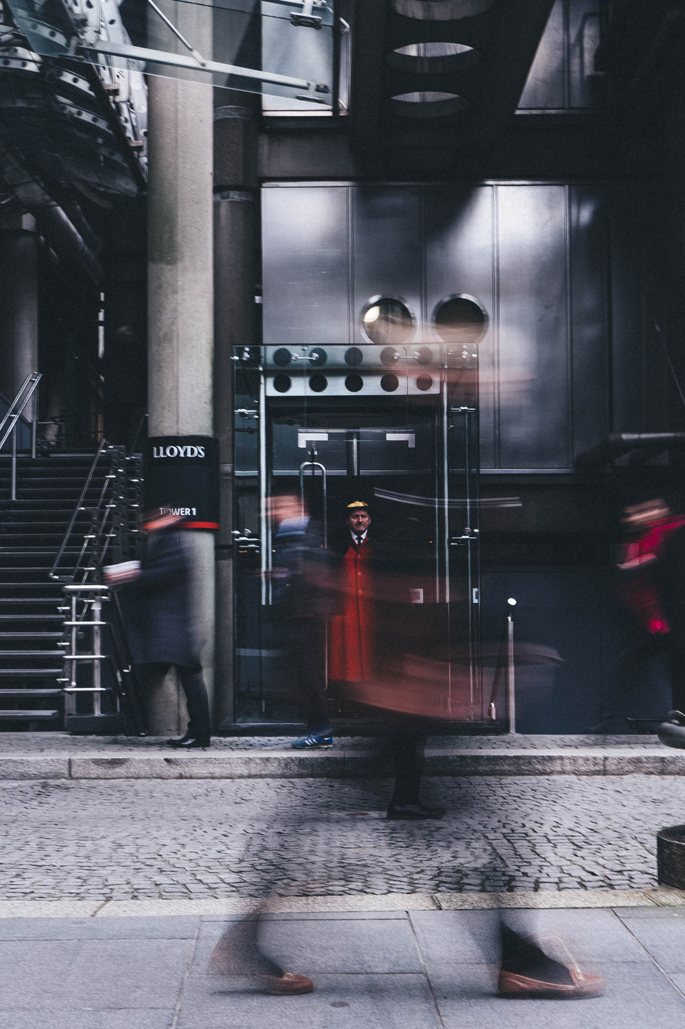 motion blur in front of buildings
