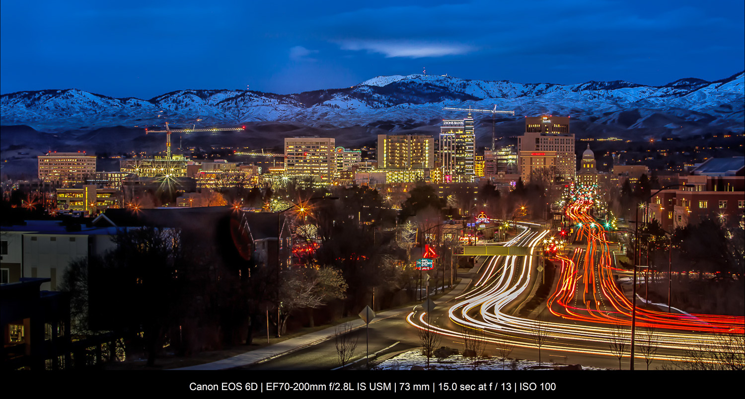 Boise at night with light trails
