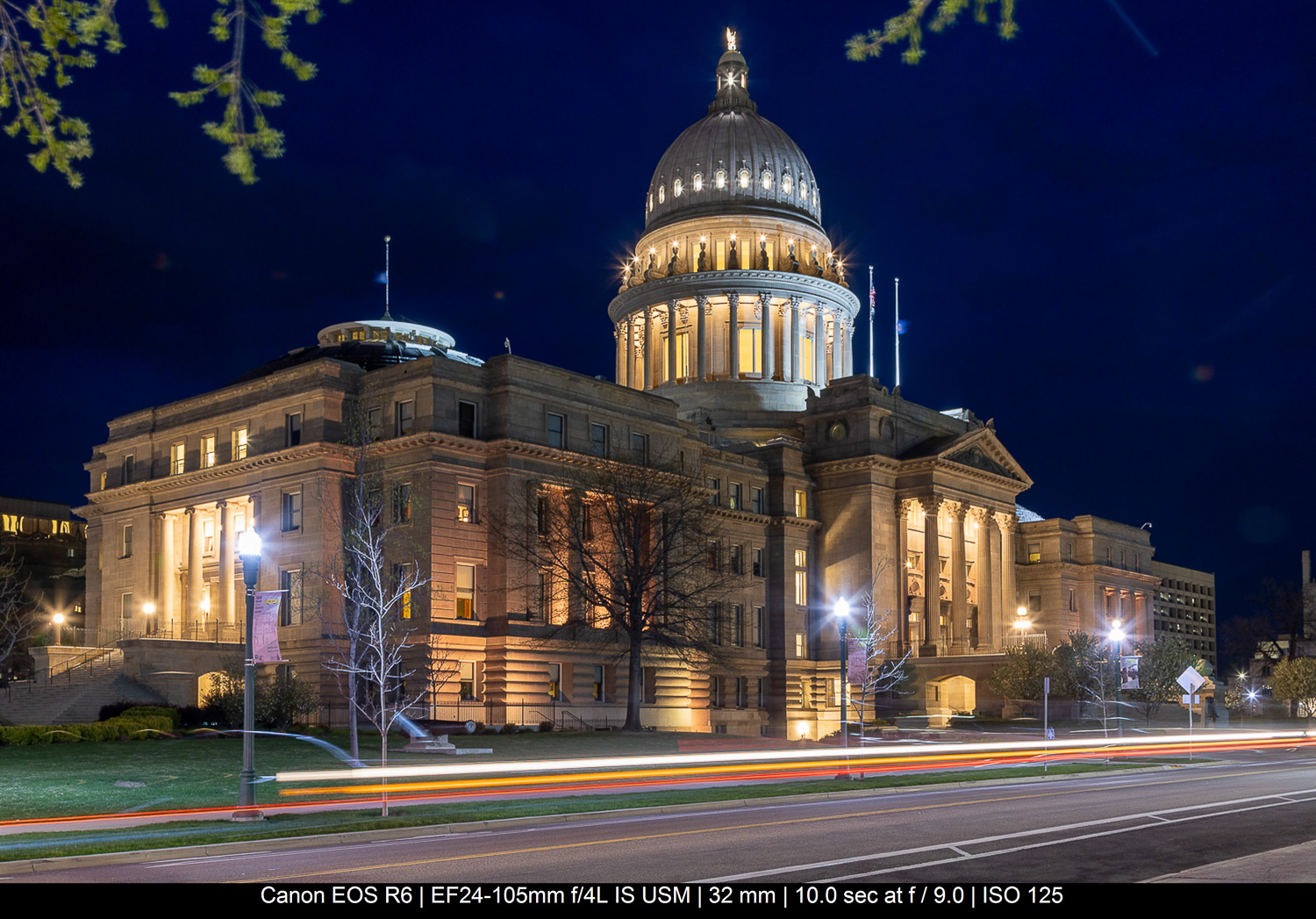 Idaho state capitol building with long exposure light trails