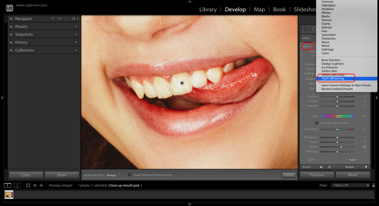 How to whiten teeth in Lightroom by adding the Teeth Whitening preset