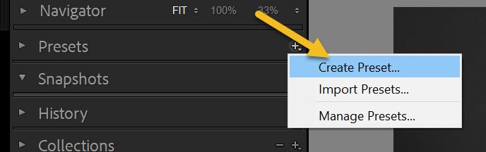 """tapping the """"Create Preset"""" option"""