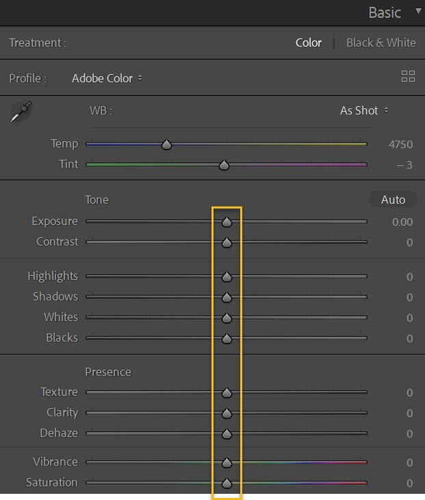 zeroing the sliders how to create your own Lightroom presets