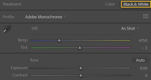 selecting Black and White in Lightroom