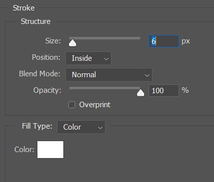 adjusting the Stroke settings
