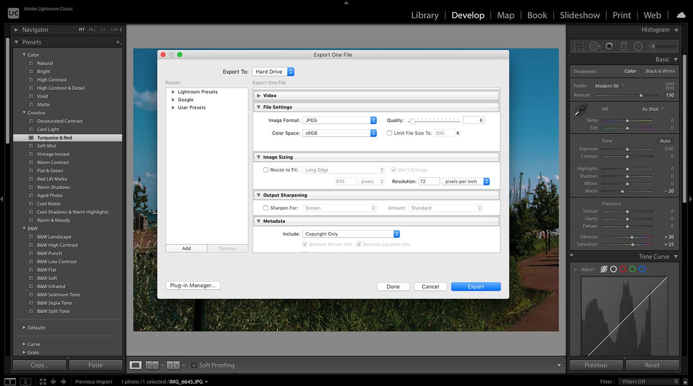 Exporting files in Lightroom