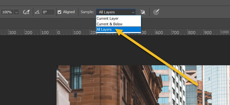 selecting All Layers for the Clone Stamp tool