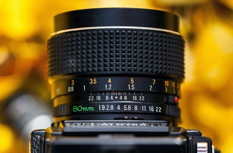 hyperfocal distance scale on a lens