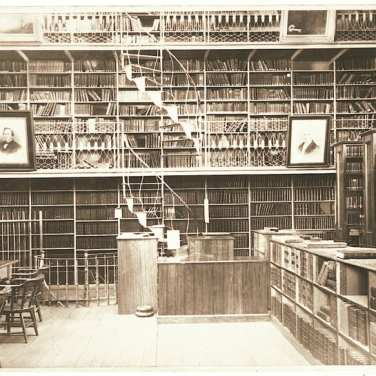 "Lovell, John L., 1825-1903, ""Interior of Morgan Library at Amherst College,"" Digital Amherst, accessed July 18, 2017, http://www.digitalamherst.org/items/show/215."