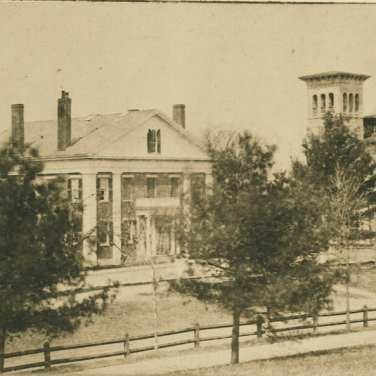 "Lovell, John L., 1825-1903, ""President's House and Morgan Library at Amherst College,"" Digital Amherst, accessed July 11, 2017, http://www.digitalamherst.org/items/show/224."