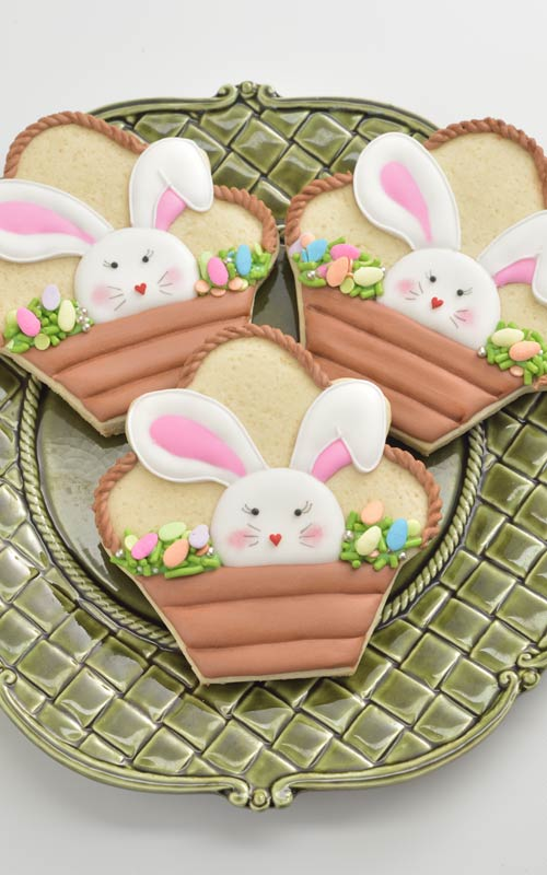 11. Easter Bunny Basket Decorated Cookies