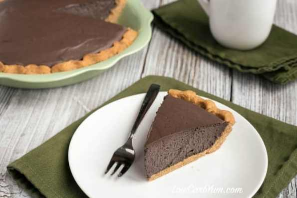 23. Low Carb Dark Chocolate Mousse Pie Peanut Flour Crust 1 768x512