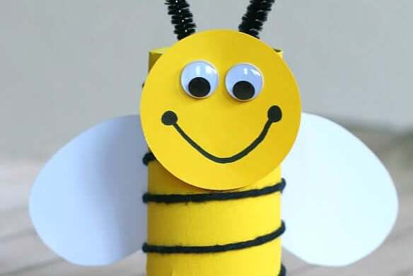 13. Toilet Paper Roll Bee Craft
