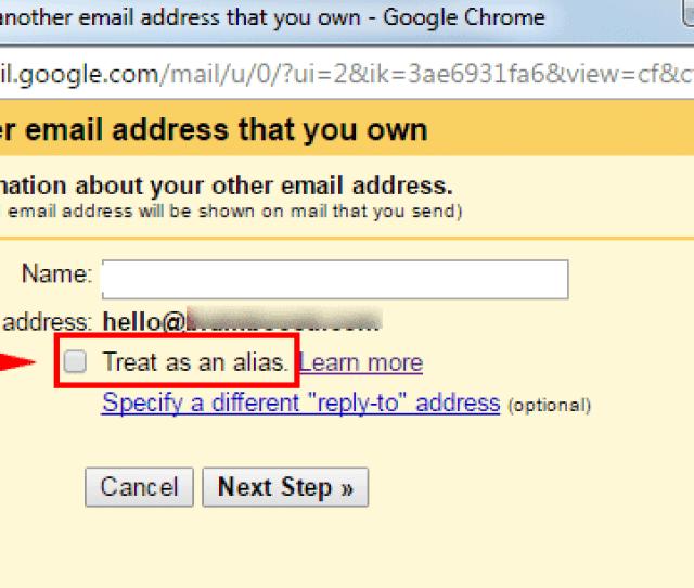 Gmail Untick Treat As Alias