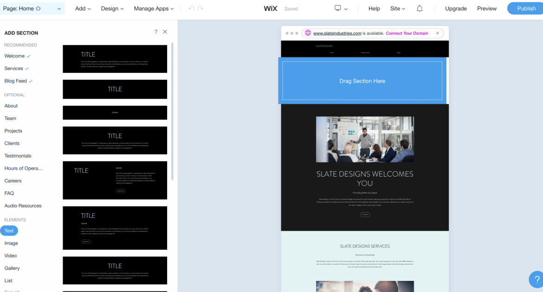 wix interface