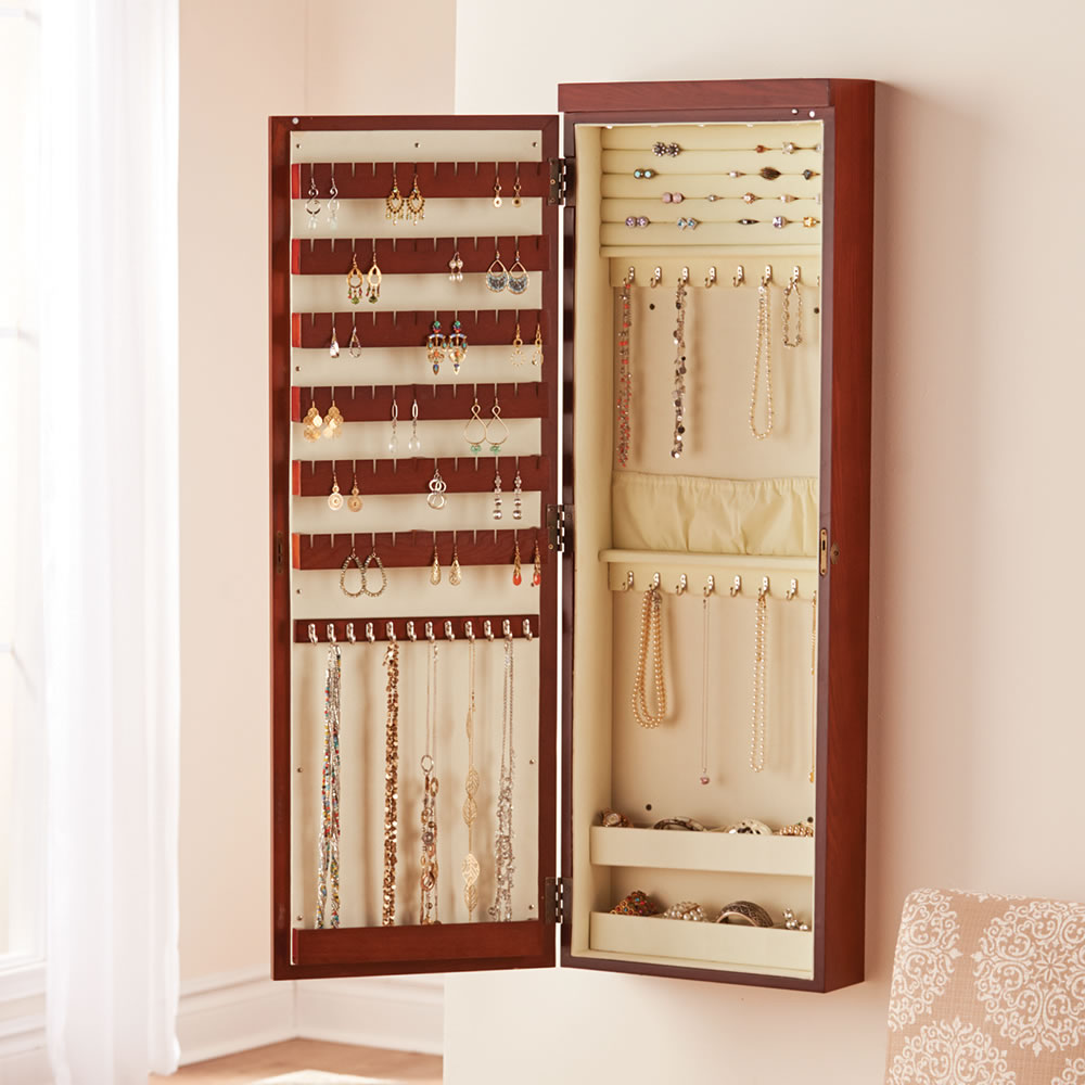 The 45 Wall Mounted Lighted Jewelry Armoire Hammacher