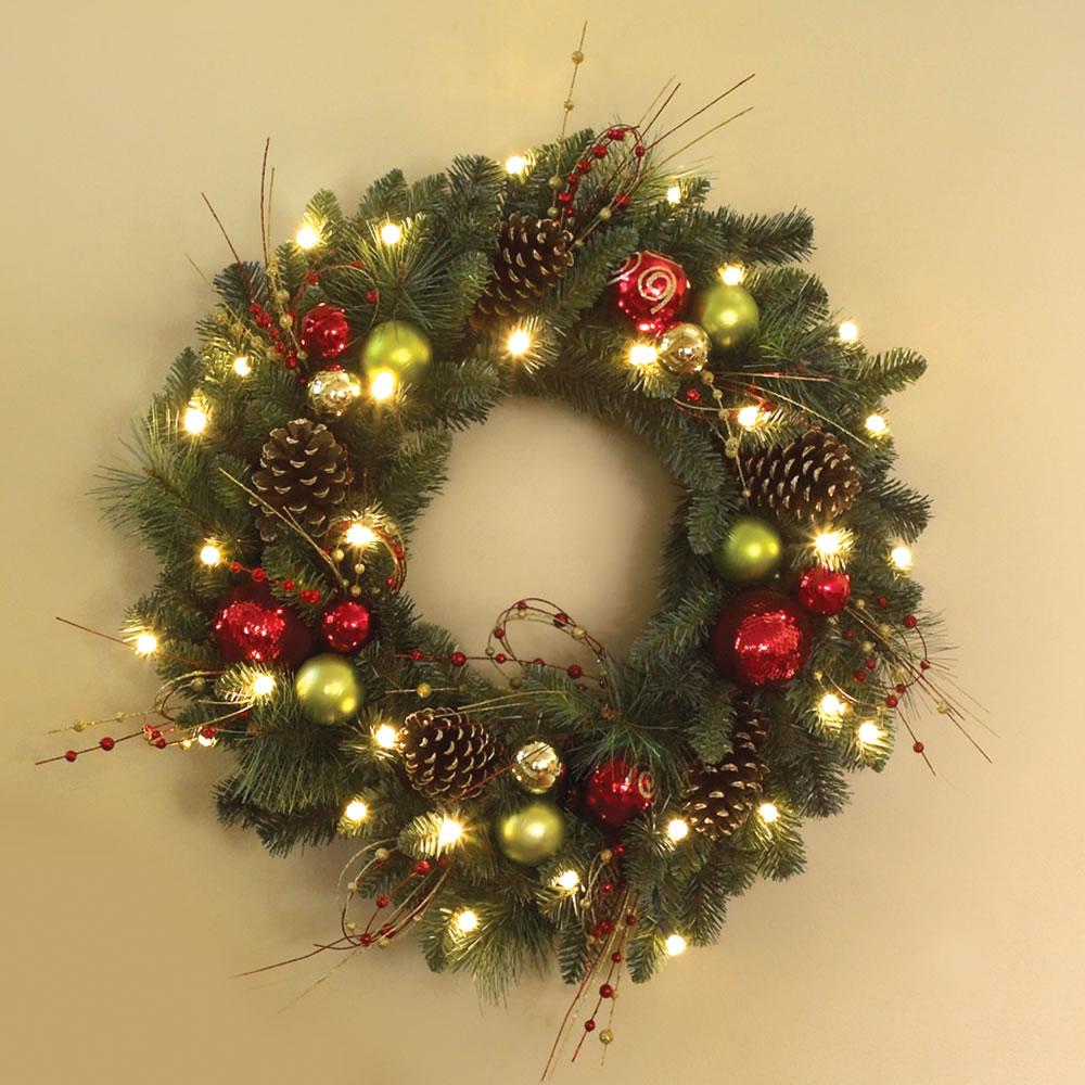 The Cordless Prelit Ornament Trim Wreath Hammacher