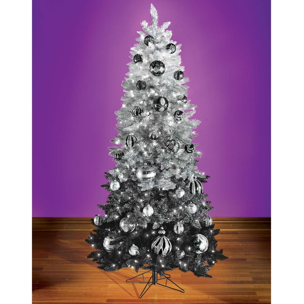 Silver Christmas Tree Decorating Ideas: Purple Black And Silver Christmas Decorations