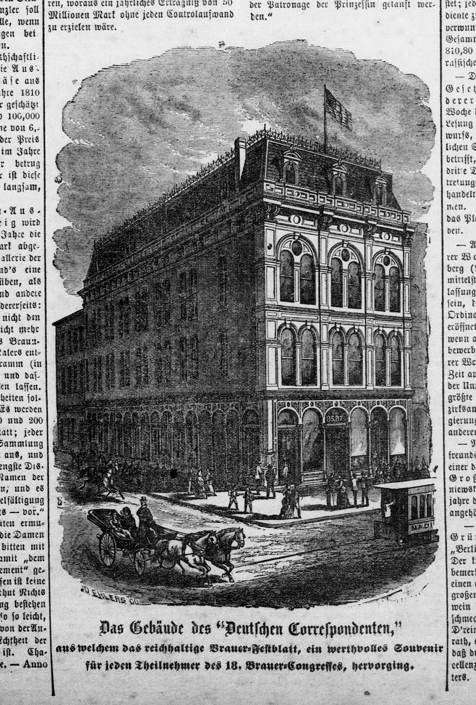 Image of the offices of Der Deutsche Correspondent in Baltimore, MD from the June 5, 1878 issue of the newspaper.