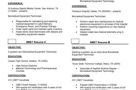 Free Resume 2018 » biomedical technician certification | Free Resume