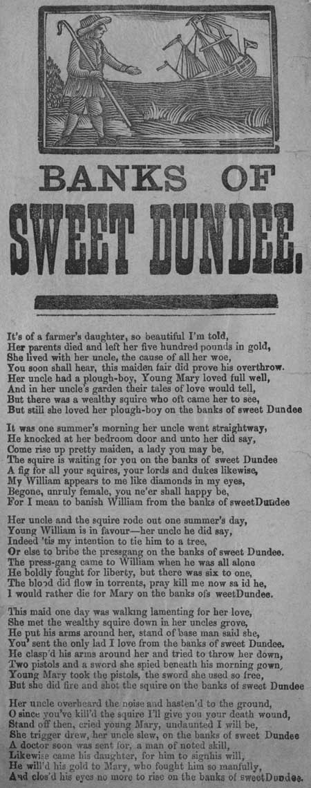 Banks of Sweet Dundee - broadside from the National Library of Scotland