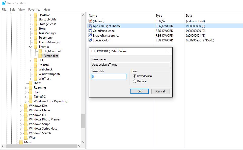 Enable dark mode - Regedit Personalize