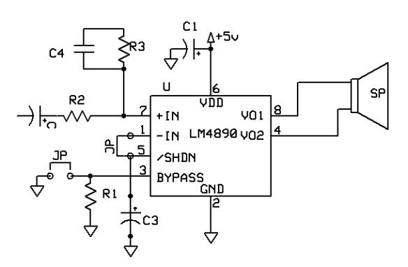 LM 4890 - 1 watt audio power amplifier